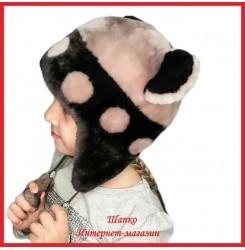 Мутоновая детская шапка - ушанка Барни 3