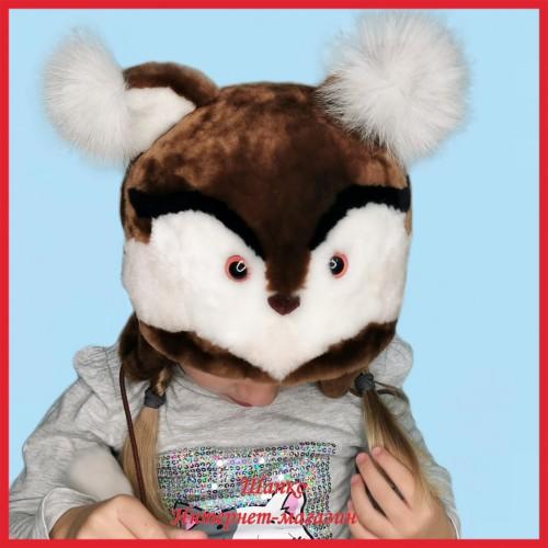 Детская меховая шапочка Шоколадная Белочка