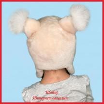 Детская меховая шапочка Персиковая Белочка