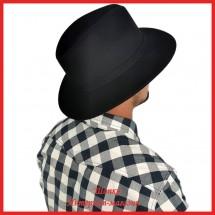 Мужская шляпа Федора с широким полем из фетра