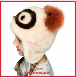Детская шапка - сова Филя из овчины