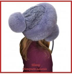 Трикотажная шапка-ушанка с песцом Канадка
