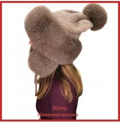 Трикотажная шапка-ушанка с песцом Канадка 2