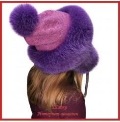 Трикотажная шапка-ушанка с песцом Канадка 3