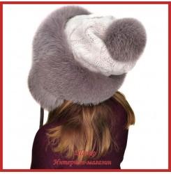 Трикотажная шапка-ушанка с песцом Канадка 4