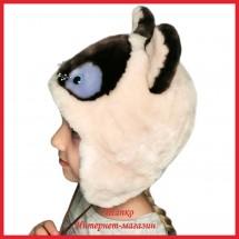 Мутоновая зверошапка Кисулька для детей