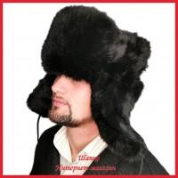 Классическая шапка - ушанка из шубного кролика