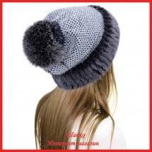 Трикотажная шапка  с норкой Лыжница