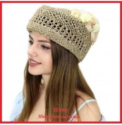 Шляпка-таблетка Магдалина из рисовой соломки