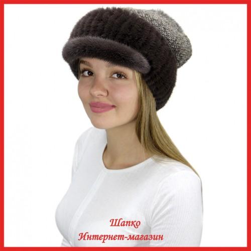 Трикотажная шапка  с норковым козырьком Маунти 1