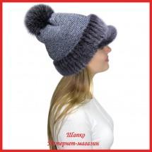Трикотажная шапка  с норковым козырьком Маунти 2