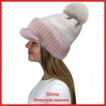 Трикотажная шапка  с норковым козырьком Маунти 3