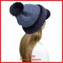 Трикотажная шапка  с норковым козырьком Маунти 4