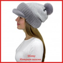 Трикотажная шапка  с норковым козырьком Маунти 5