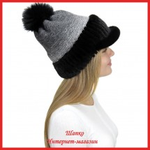 Трикотажная шапка  с норковым козырьком Маунти 6