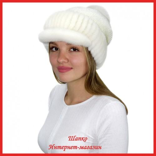 Трикотажная шапка  с норковым козырьком Маунти 7