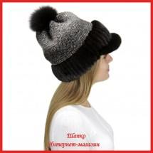 Трикотажная шапка  с норковым козырьком Маунти 8