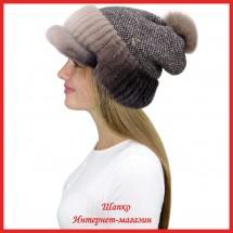 Трикотажная шапка  с норковым козырьком Маунти 9