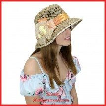 Шляпка Мазель из рисовой соломки