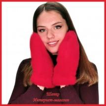 Норковые варежки Красный Гламур