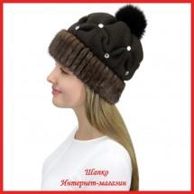 Трикотажная шапка с норкой Морган