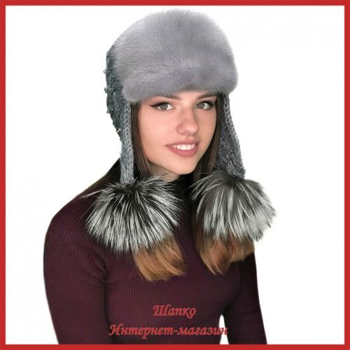 Трикотажная шапка-ушанка с норкой Монин