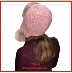 Трикотажная шапка-ушанка с норкой Монин 1