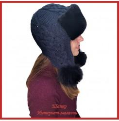 Трикотажная шапка-ушанка с норкой Монин 2