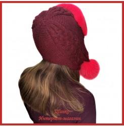 Трикотажная шапка-ушанка с норкой Монин 3