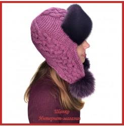 Трикотажная шапка-ушанка с норкой Монин 4