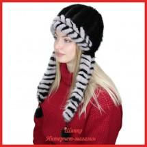 Шапка-ушанка Нарина 1 из вязаной норки