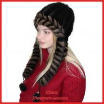 Шапка-ушанка Нарина 2 из вязаной норки