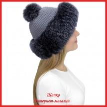 Трикотажная шапка с лисой Bluefrost Настасья 1