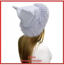 Трикотажная шапка с песцом Нега