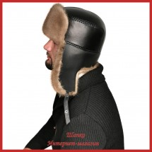 Практичная шапка - ушанка Роман из норки