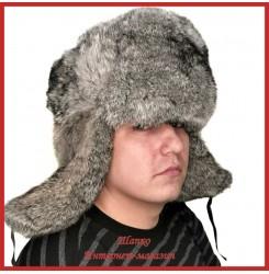 Советская классическая шапка - ушанка из кролика