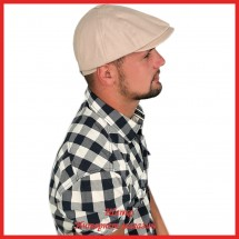 Летняя плоская кепка Терентий из льна