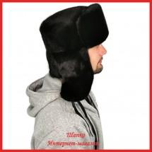 Мужская шапка-ушанка из цельной норки
