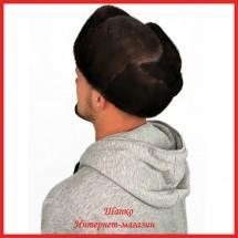 Мужская шапка-ушанка 1 из цельной норки
