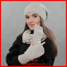 Комплект Виктория 1 (шапка, снуд, митенки)