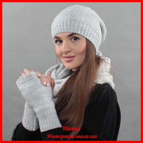 Комплект Виктория 2 (шапка, снуд, митенки)