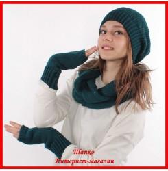 Комплект Виктория 5 (шапка, снуд, митенки)
