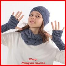 Комплект Виктория 9 (шапка, снуд, митенки)