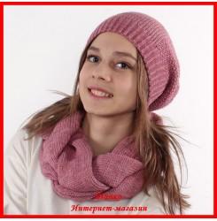 Комплект Виктория 16 (шапка, снуд, митенки)