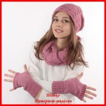 Комплект Елена 16 (шапка, снуд, митенки)
