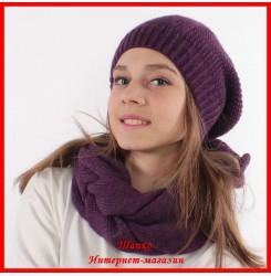 Комплект Виктория 18 (шапка, снуд, митенки)